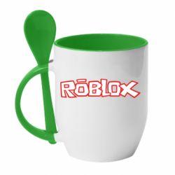 Кружка с керамической ложкой Roblox logo