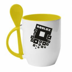 Кружка с керамической ложкой Roblox logos