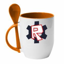 Кружка з керамічною ложкою Roblox mini logo