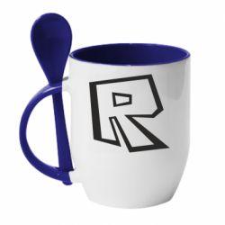 Кружка з керамічною ложкою Roblox minimal logo