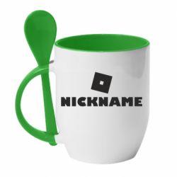 Кружка с керамической ложкой Roblox Your Nickaneme