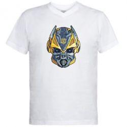 Мужская футболка  с V-образным вырезом Робот bumblebee