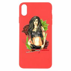 Чехол для iPhone Xs Max Rock girl with a rose