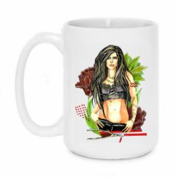 Кружка 420ml Rock girl with a rose