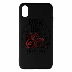 Чехол для iPhone X Rock Is Dead fire - FatLine