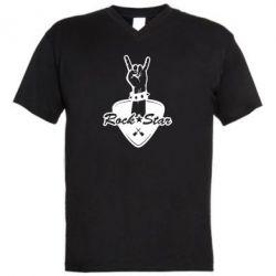 Чоловіча футболка з V-подібним вирізом Rock star gesture