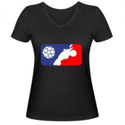 Жіноча футболка з V-подібним вирізом Rocket League blue and red