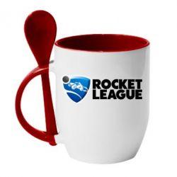 Кружка з керамічною ложкою Rocket League logo