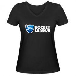 Жіноча футболка з V-подібним вирізом Rocket League logo