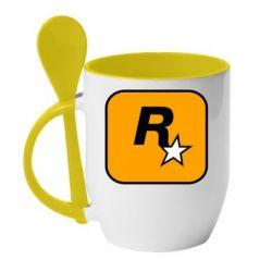 Кружка з керамічною ложкою Rockstar Games logo