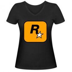 Жіноча футболка з V-подібним вирізом Rockstar Games logo