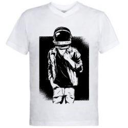 Мужская футболка  с V-образным вырезом Рок Космонавт