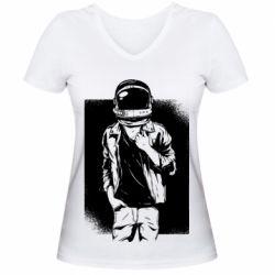Женская футболка с V-образным вырезом Рок Космонавт