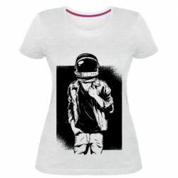 Женская стрейчевая футболка Рок Космонавт