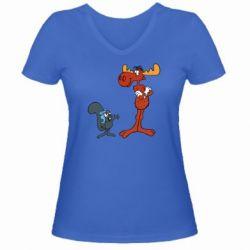Женская футболка с V-образным вырезом Рокки и Бульвинкль - FatLine