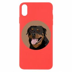 Чехол для iPhone X/Xs Rottweiler vector