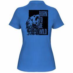 Женская футболка поло Рожден Быть Диким Медведь
