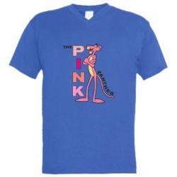 Мужская футболка  с V-образным вырезом Розовая пантера
