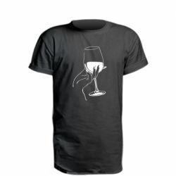Удлиненная футболка Рука с бокалом