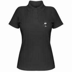 Женская футболка поло Рука с бокалом