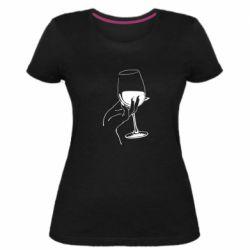 Женская стрейчевая футболка Рука с бокалом