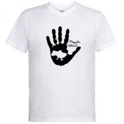 Мужская футболка  с V-образным вырезом Рука з картою України - FatLine