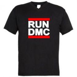 Мужская футболка  с V-образным вырезом RUN DMC - FatLine