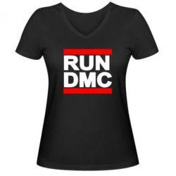 Женская футболка с V-образным вырезом RUN DMC - FatLine