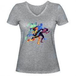 Жіноча футболка з V-подібним вирізом Run