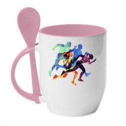 Кружка з керамічною ложкою Run