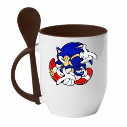 Кружка с керамической ложкой Running sonic