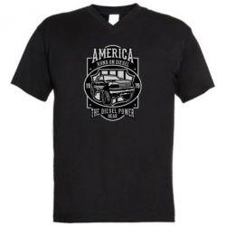 Чоловіча футболка з V-подібним вирізом Runs On Diesel