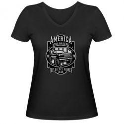 Жіноча футболка з V-подібним вирізом Runs On Diesel