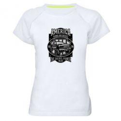 Жіноча спортивна футболка Runs On Diesel