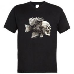 Мужская футболка  с V-образным вырезом Рыба-череп