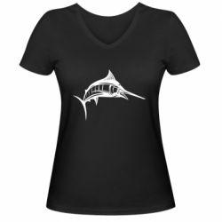 Женская футболка с V-образным вырезом Рыба Марлин - FatLine
