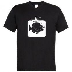 Мужская футболка  с V-образным вырезом Рыба на крючке