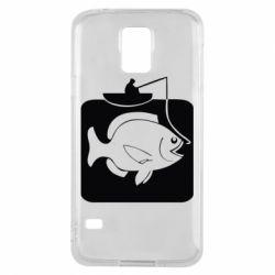 Чехол для Samsung S5 Рыба на крючке