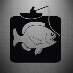 Наклейка Рыба на крючке - FatLine