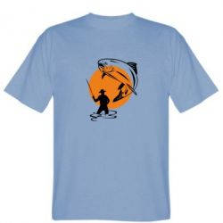 Мужская футболка Рыбак на фоне солнца - FatLine