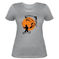 Женская футболка Рыбак на фоне солнца - FatLine