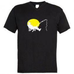 Мужская футболка  с V-образным вырезом Рыбак