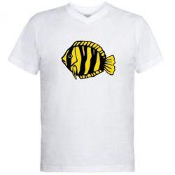 Мужская футболка  с V-образным вырезом рыбка - FatLine