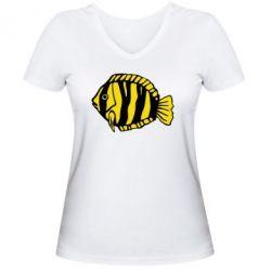 Женская футболка с V-образным вырезом рыбка - FatLine