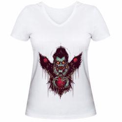 Женская футболка с V-образным вырезом Ryuk the god of death