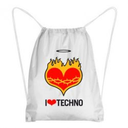 Рюкзак-мешок I love Techno logo - FatLine