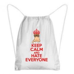 Рюкзак-мешок KEEP CALM and HATE EVERYONE - FatLine