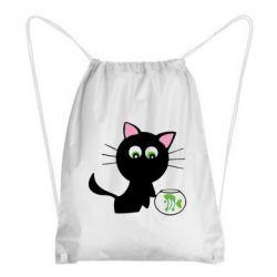 Рюкзак-мешок Кошечка и аквариум - FatLine