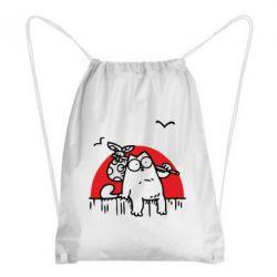 Рюкзак-мешок Кот Саймона на фоне заката - FatLine