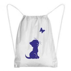 Рюкзак-мешок котик и бабочка - FatLine